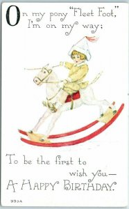 1910s F.A. Owen HAPPY BIRTHDAY Postcard On My Pony Fleet Foot I'm on My Way…