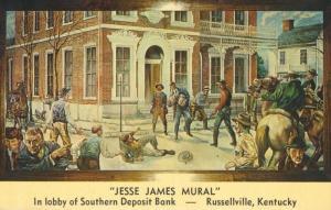 Jesse James Mural Southern Deposit Bank Russellville Kentucky KY Postcard E1