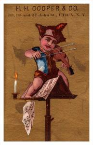 Child playing Violin  H.H.Cooper Utica New york  Victorian  Trade Card