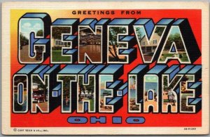 1940s GENEVA-ON-THE-LAKE, Ohio Large Letter Postcard Curteich Linen / Unused