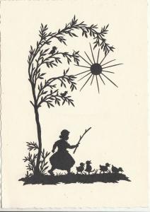 Alice Staudacher-Voit artist silhouette fantasy postcard girl & baby ducks
