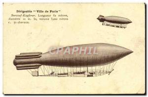 Old Postcard Jet Aviation Airship Paris City Surcouf Kapferer