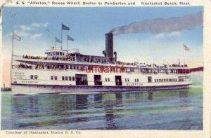 S. S. ALLERTON ROWES WHARF Courtesy of Nantasket Boston S. S. Co 1936