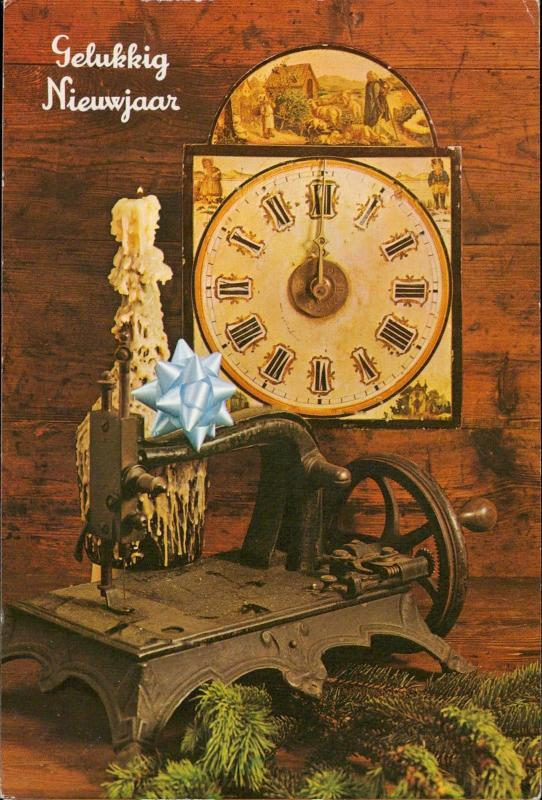Happy New Year luck clock midnight candle old sewing machine