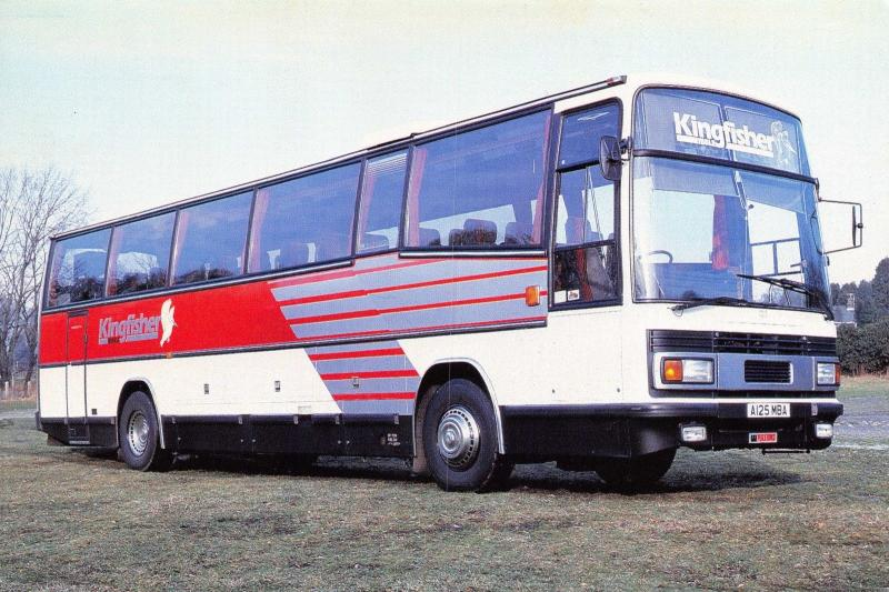 Postcard Bus Coach Kingfisher Leyland Tiger 125 Plaxton Paramount 3500 Body #258