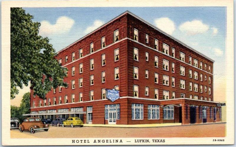 Lufkin Texas Postcard Hotel Angelina Street View Curteich Linen C1940s Unused