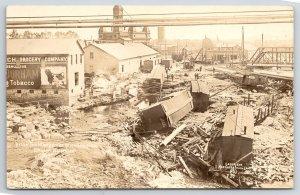 Wausau~Boxcars Scatter~Flood, Courthouse, Bull Durham Barn Sign~Bridge RPPC 1912