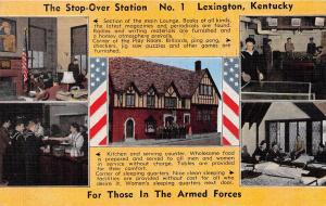 LEXINGTON KENTUCKY ARMED FORCES STOP OVER STATION #1 MILITARY POSTCARD 1944