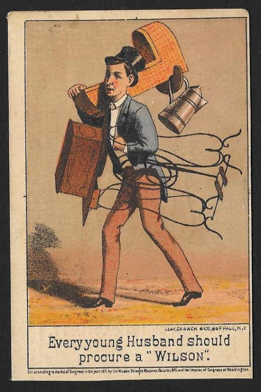 VICTORIAN TRADE CARD Wilson Sewing Machine Man Cradle & Sewing Machine c1871