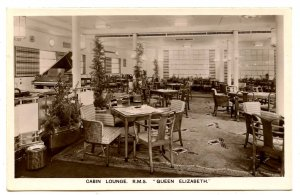 Cunard Line - RMS Queen Elizabeth,  Cabin Lounge   *RPPC