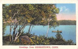 Georgetown Connecticut Row Boat Waterfront Greeting Antique Postcard K100152