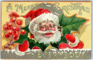 Vintage 1909 SANTA CLAUS Embossed Postcard A MERRY CHRISTMAS TO EVERYBODY