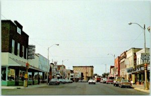 MAUSTON, Wisconsin Postcard Business District Downtown Street Scene c1960s