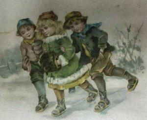 Victorian Trade Card Boys Girl Ice Skating Muff Lion Coffee Woolson Spice