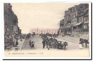 Berck Beach Postcard Old L & # 39entonnoir (very animated cars)