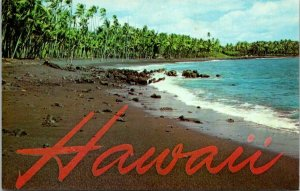Postcard~Black Sand Beach~Kalapana~Island~Hawaii~A16