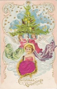 CHRISTMAS; Greetings, Decorated Tree being held by Angels, Sparkling stars, B...
