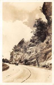 Williamsburg Kentucky~US Route 25~Car Driving by Cliff~Whitley County~1940 RPPC