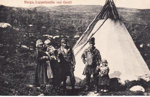 Lapp Family Standing by Tent