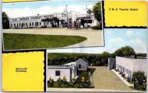 Moorcroft, Wyoming Postcard S&A TOURIST HOTEL Highway 14 & 16 Roadside Linen