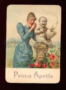 006121 1st APRIL Crying Lady w/ Baby CUPID Vintage Card
