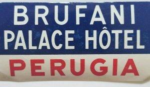 Brufani Palace Hotel Luggage Label Perugia  Fab Vintage