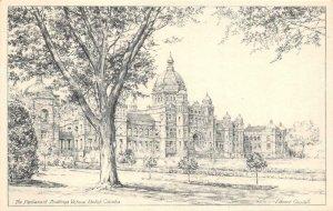 THE PARLIAMENT BUILDINGS Victoria, BC Edward Goodall Art c1930s Vintage Postcard