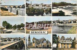 Old Postcard Bergerac From L to R Bridge The Church Chateau de Monbaziliac