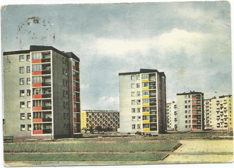 Spacerowa Street Nowa Huta Poland Ruch Postcard with Two 1960 Szczecin Stamps
