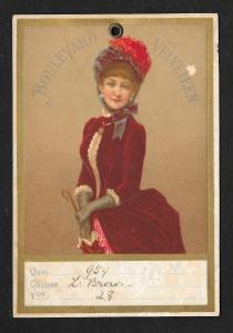 VICTORIAN TRADE CARD Boulevard Velveteen Lady in Red Dress