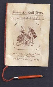 1942 CENTRAL CATHOLIC HS SR FAREWELL DANCE PROGRAM W/PENCIL,ATTACH ALLENTOWN PA
