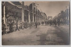1920s? PARIS French FRANCE RPPC Postcard WWI Soldiers Parade Arc de Triomphe