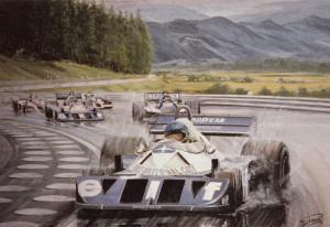 Ronnie Petterson Austrian Grand Prix 1977 Formula 1 Painting Postcard