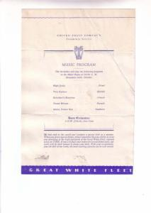 United Fruit Company Steamship, 1934, Music Program, Davis Orchestras