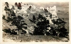 1930s RPPC View of Scotts Bluff National Monument NE from Top of Bluff