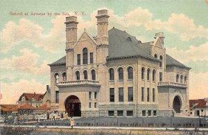 School at Averne by the Sea, Queens, N.Y., Early Postcard, Unused