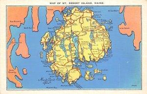 Mount Desert Island, Maine USA Map Unused