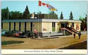 Fort Nelson, B.C. Canada Postcard Government Building Street View 1960s Unused