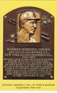 Warren Edward Spahn National Baseball Hall Of Fame & Museum  Cooperstown New ...