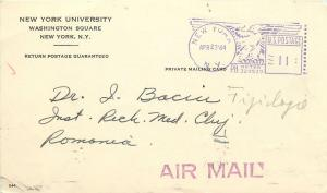 New York University Washington Square doctors correspondence card 1964 Romania