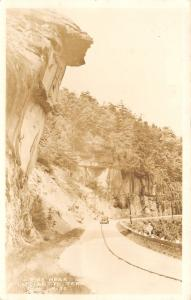 LaFollette Tennessee~US Route 25~Car Under Bluff Overhang~Real Photo~1940s RPPC