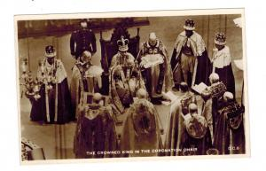 Mint RPPC Postcard King George VI KGVI Real Picture In the Coronation Chair