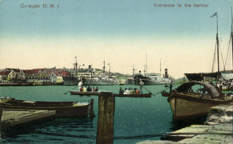 curacao, D.W.I., WILLEMSTAD, Entrance to the Harbor, Steamers (1925) Stamp