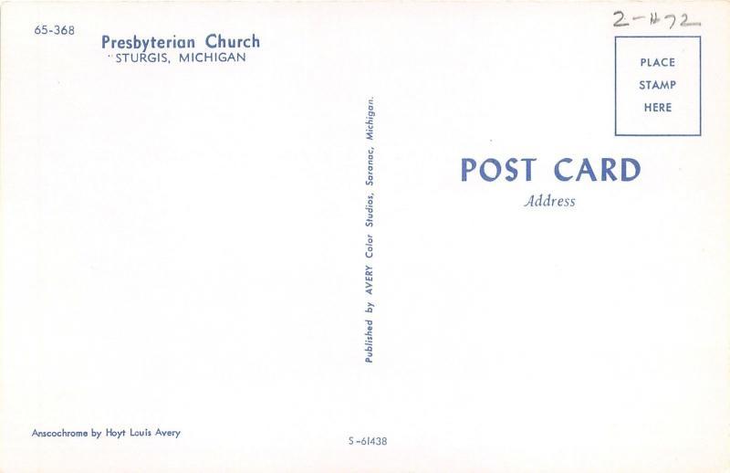 Sturgis Michigan~Presbyterian Church~Large Cross Display~1950s Postcard