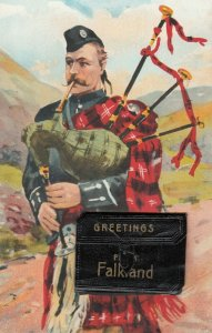 Greetings from Falkland bagpiper bagpipe leporello fold out multi views postcard