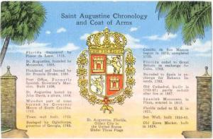 Linen of Saint Augustine Florida Chronology and Coat of Arms; Oldest City in USA