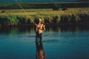 Lone Fisherman Fly Fishing , Teton River , DRIGGS , Idaho, 1980-90s