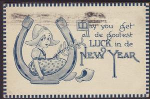 New Year,Dutch Girl,Horseshoe Postcard
