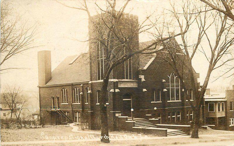 Congregational Church 1921 Red Oak Iowa Montgomery County RPPC 9136