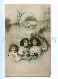 177629 EASTER Girls SHEEP Egg Vintage PHOTO Collage PC